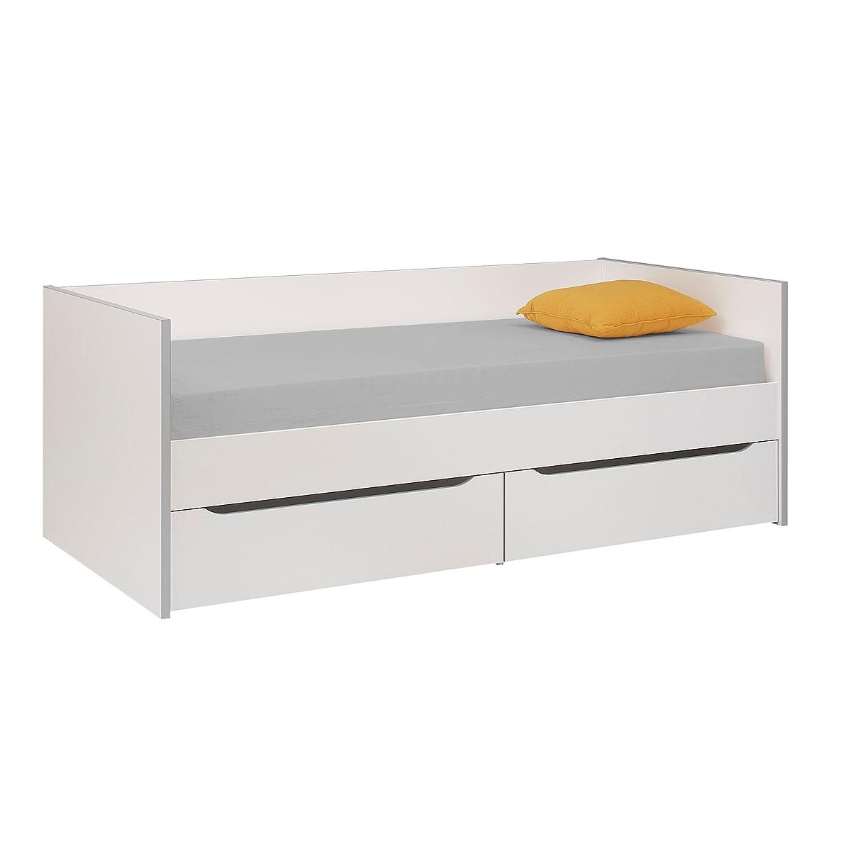 Lit banquette 2 tiroirs 90x200 blanc gris