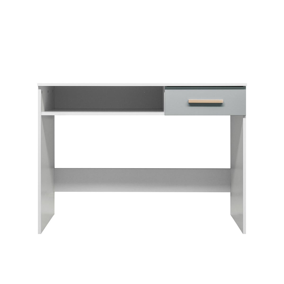 Bureau 1 niche 1 tiroir blanc gris