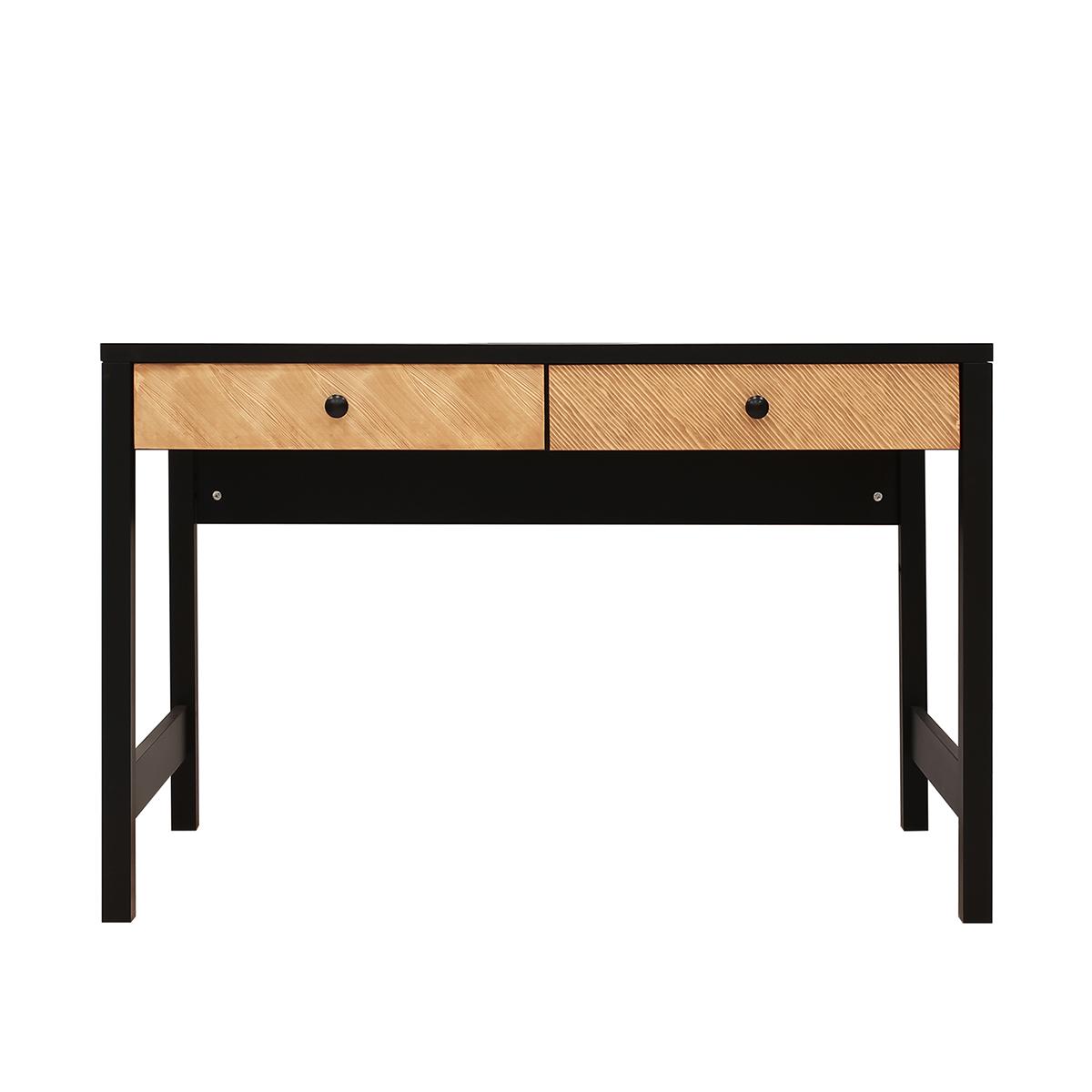Bureau 2 tiroirs noir bois naturel