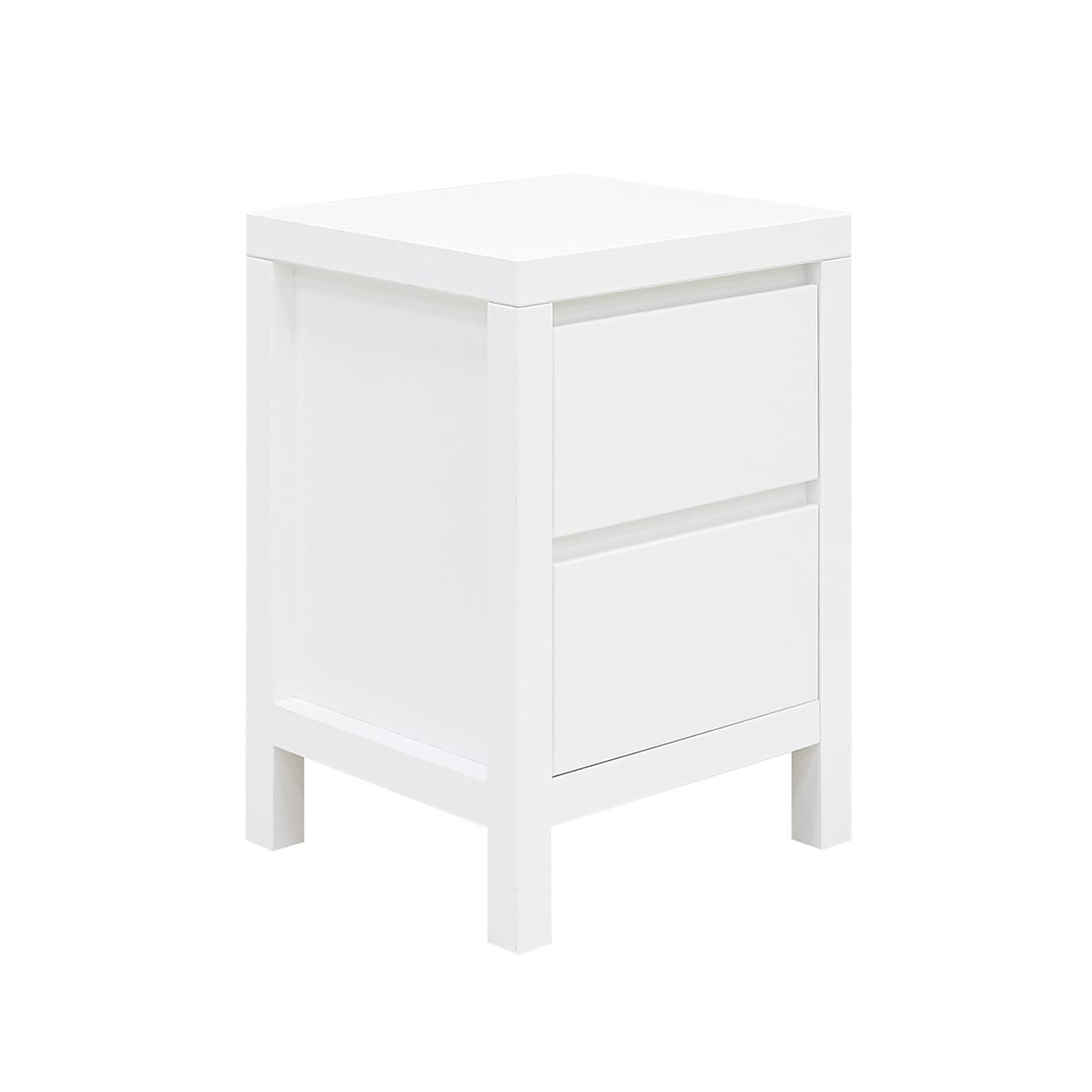 Chevet 2 tiroirs blanc