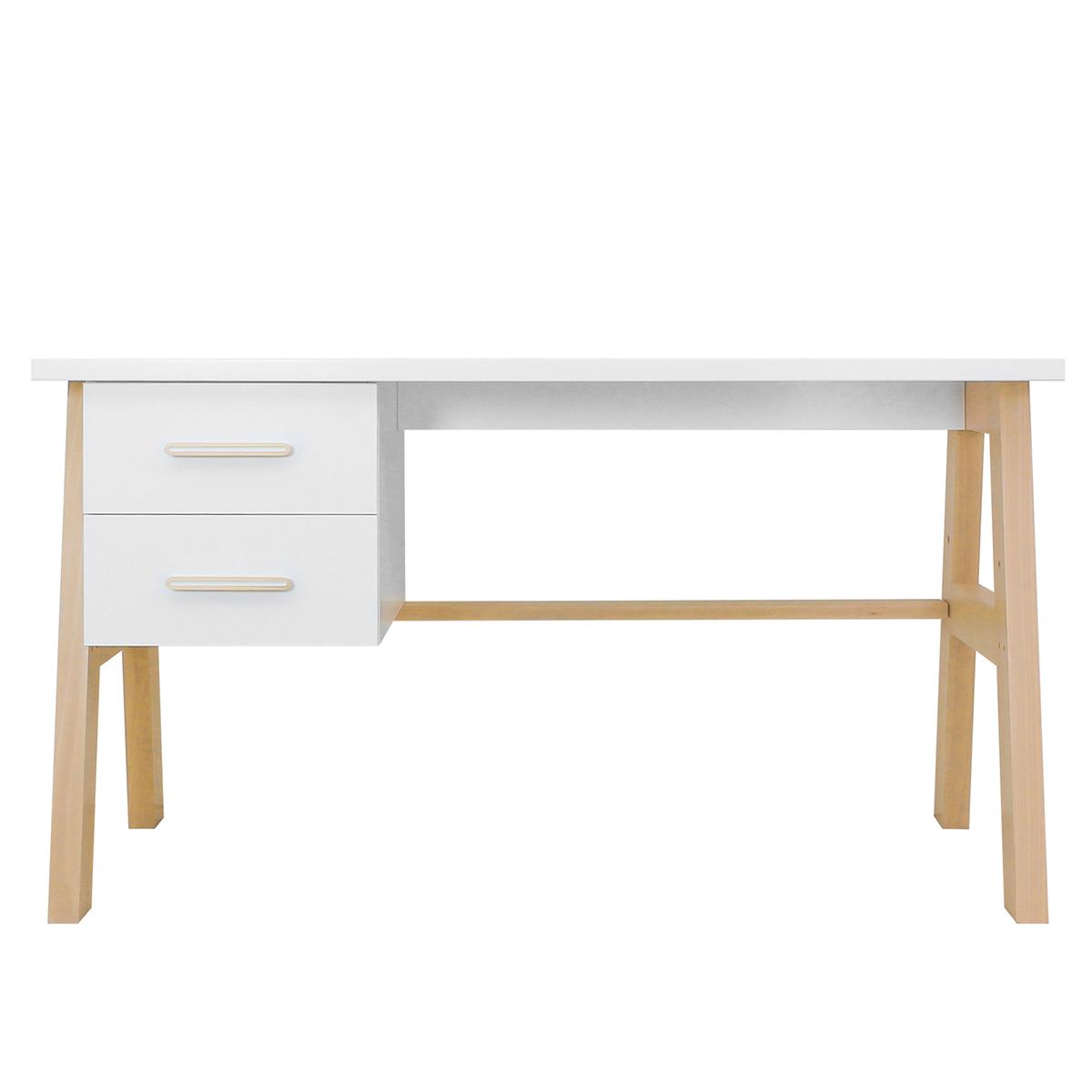 Bureau 2 tiroirs blanc naturel