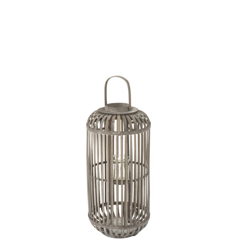 Lanterne cylindre bois gris H67cm