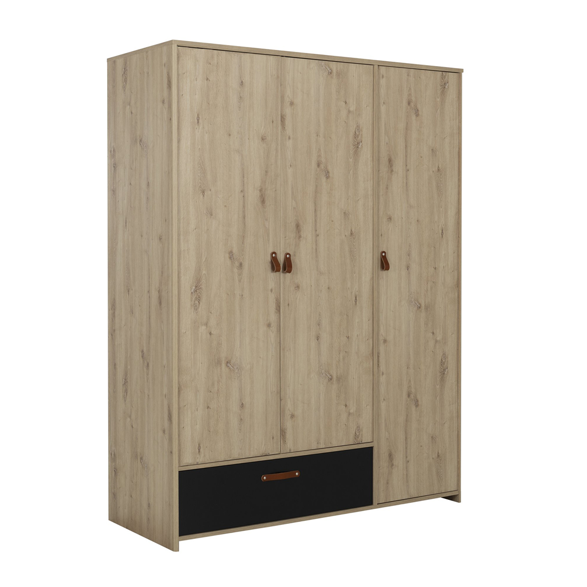 Armoire 3 portes 1 tiroir chêne noir
