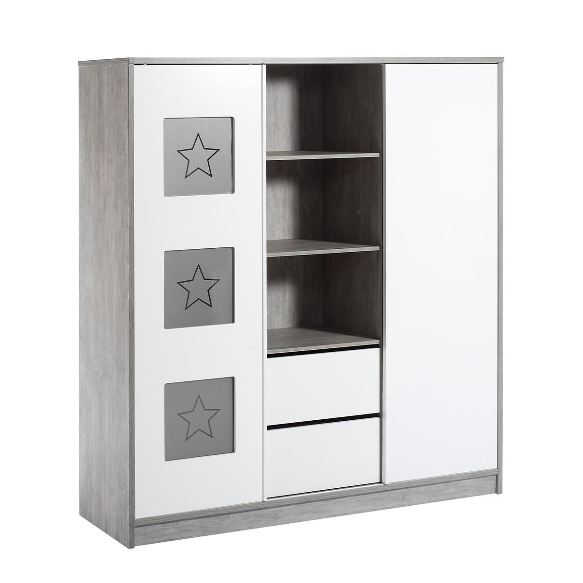 Armoire 2 portes blanc gris