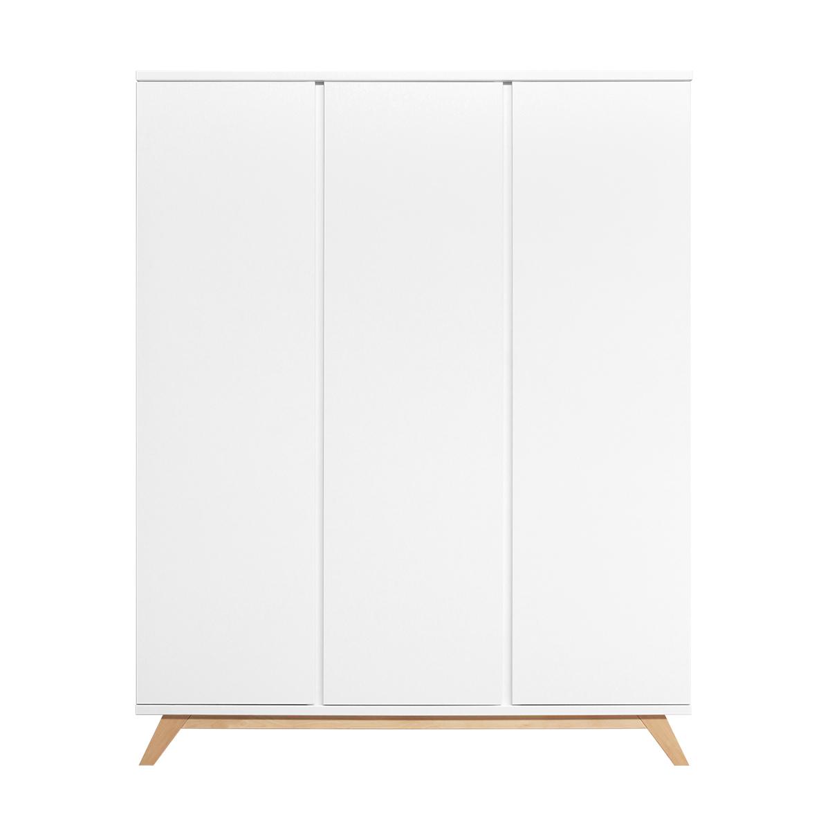 Armoire 3 portes blanc bois