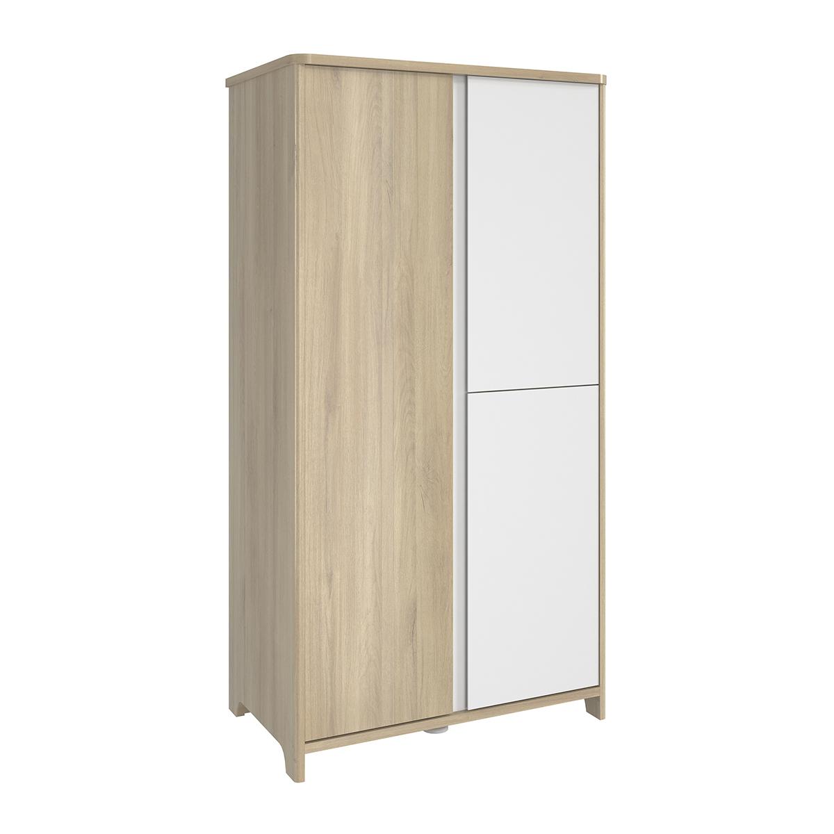 Armoire 3 portes chêne blanc