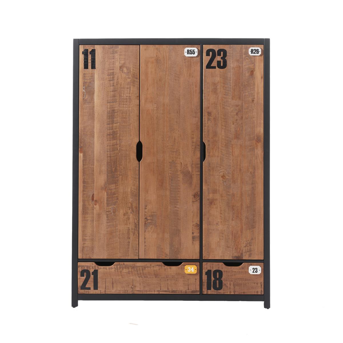 Armoire 3 portes noir bois