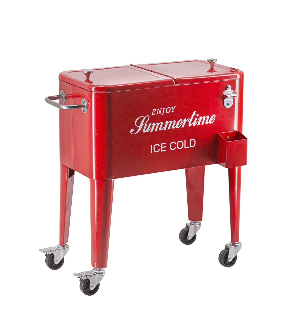 Desserte frigo en inox rouge L73