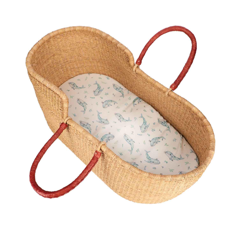 Drap housse couffin ovale en bambou bleu bébé  Taille unique