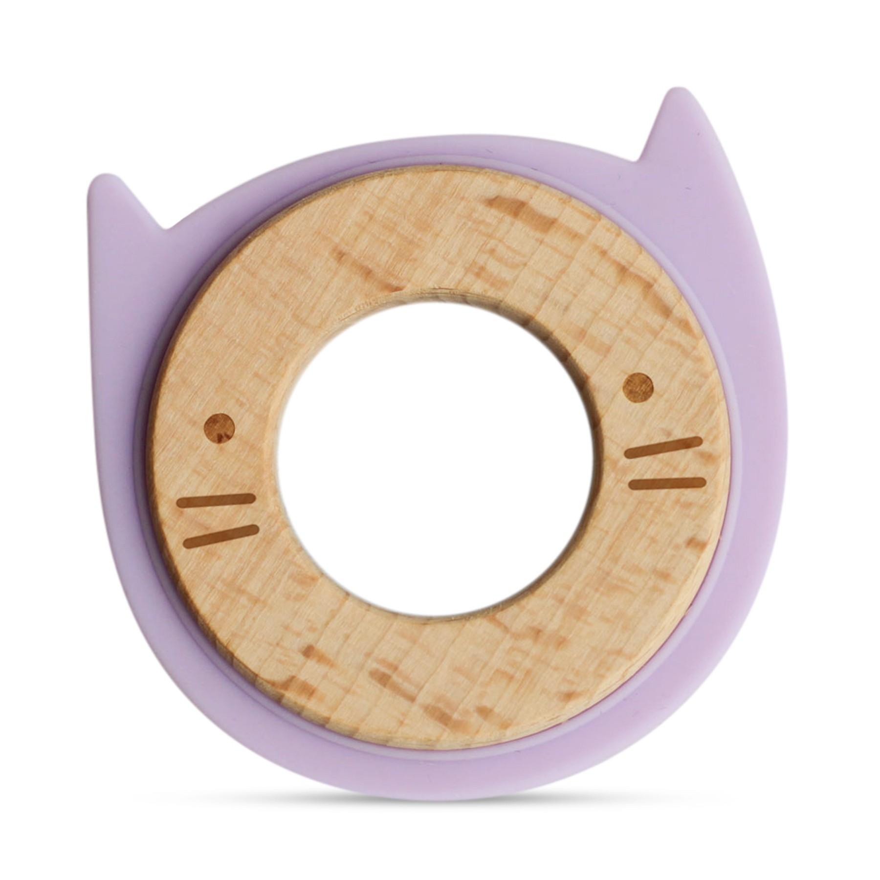 Anneau de dentition en bois et silicone violet bébé
