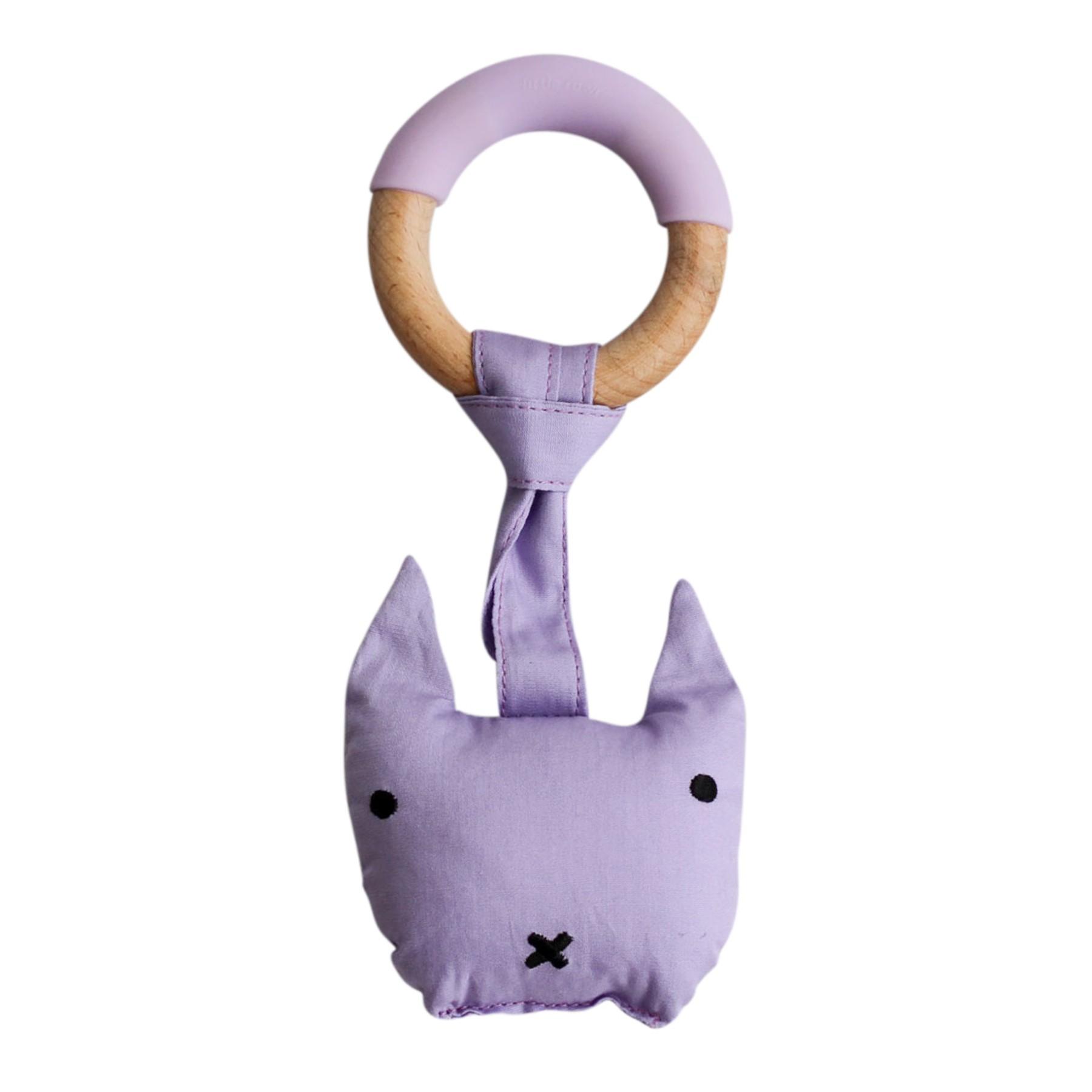 Anneau de dentition avec peluche violet bébé