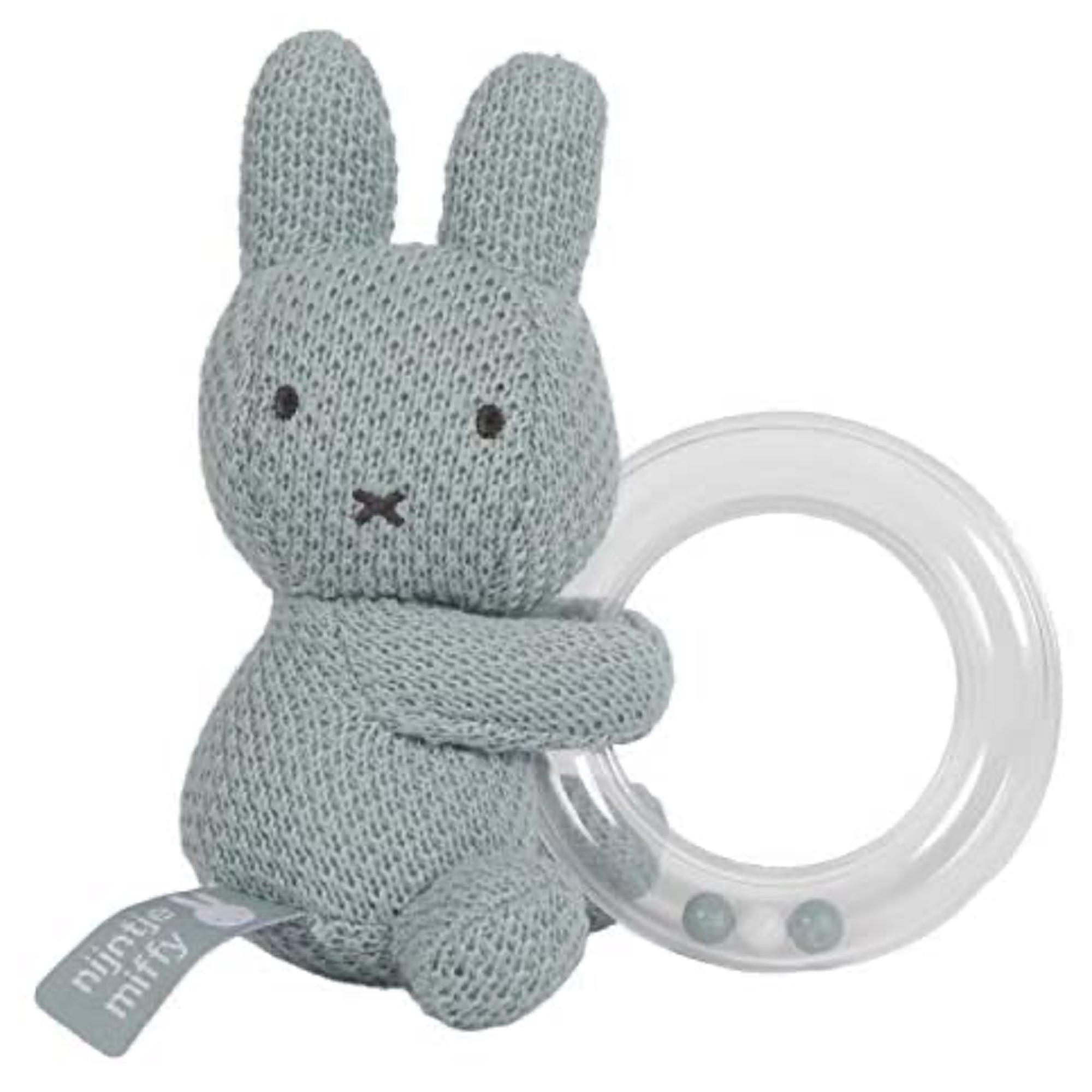 Hochet avec anneau de dentition gris bébé