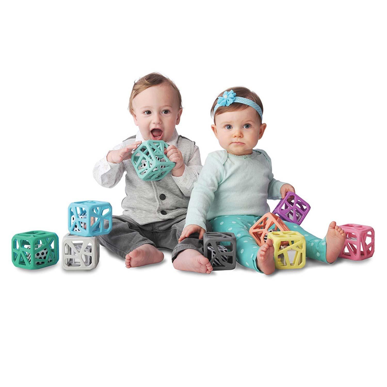 Cube de dentition  rose pêche bébé