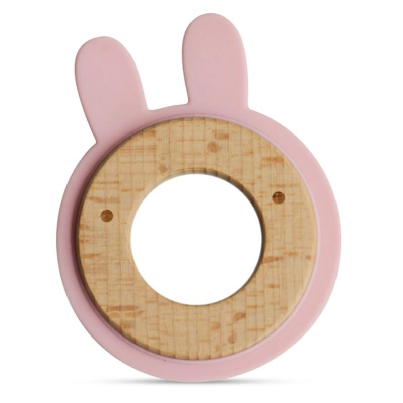 Anneau de dentition en bois et silicone rose bébé