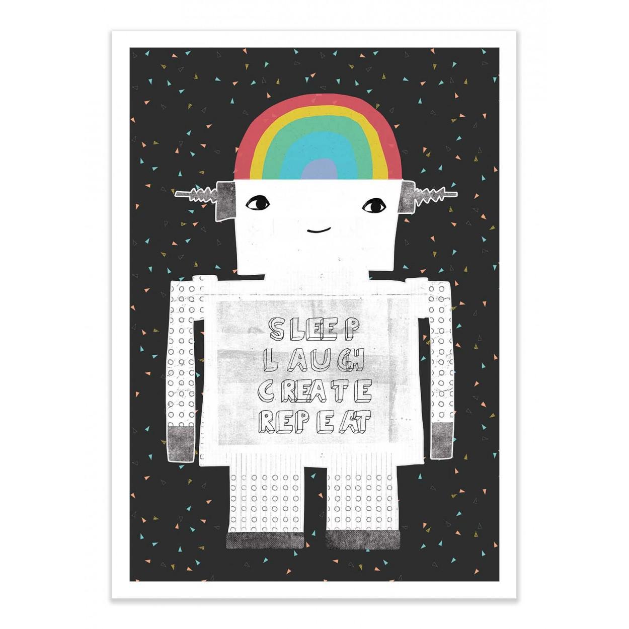 SLEEP LAUGH CREATE - TREECHILD -  Affiche d'art 50 x 70 cm