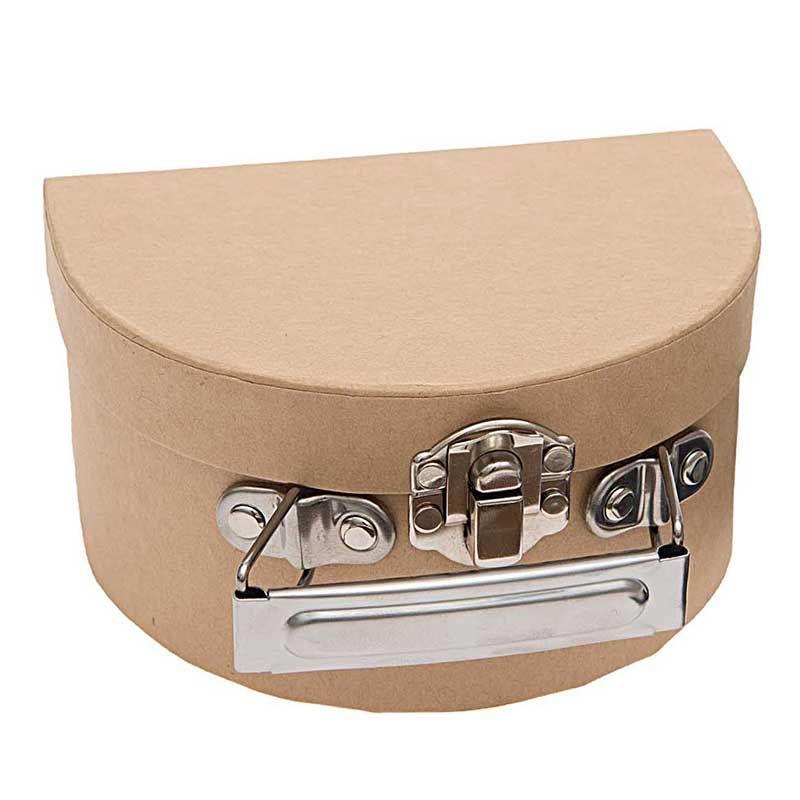Valise en carton semi-circulaire à décorer 12x9x6cm