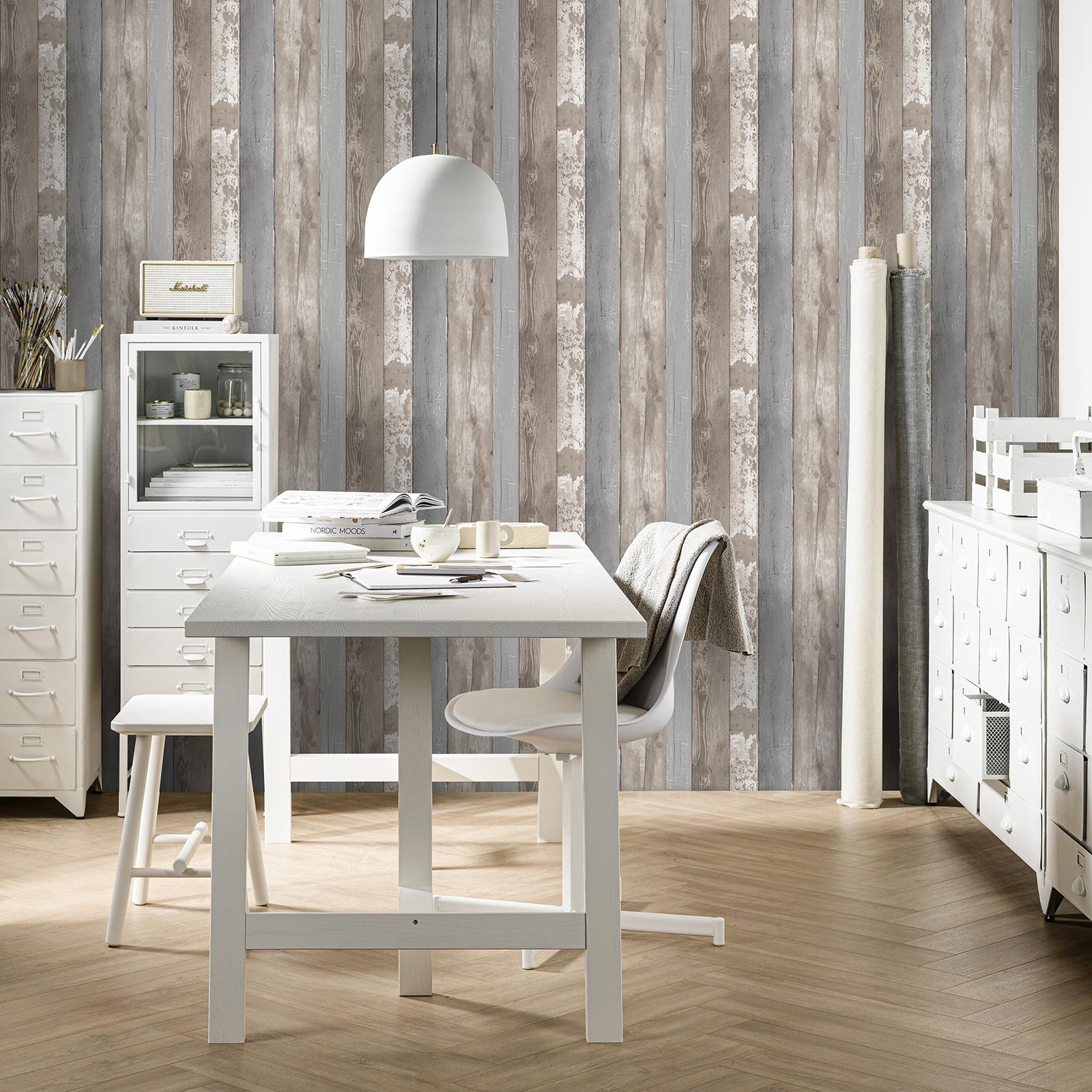 Papier peint intissé bois naturel planches marron 1005x52cm