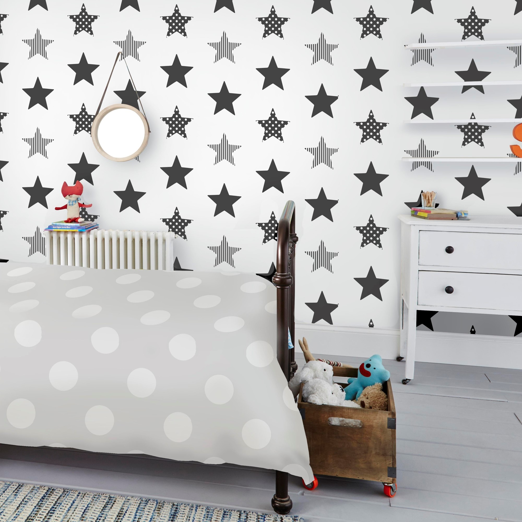 Papier peint intissé étoiles superstar noir blanc 1005x52cm