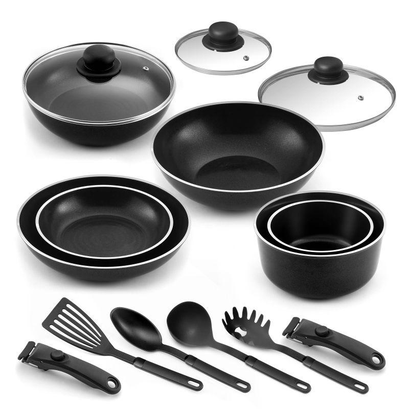 Lot 15 pièces - 2 Poêles, 2 casseroles, 1 sauteuse, 1 wok, 3 couvercl
