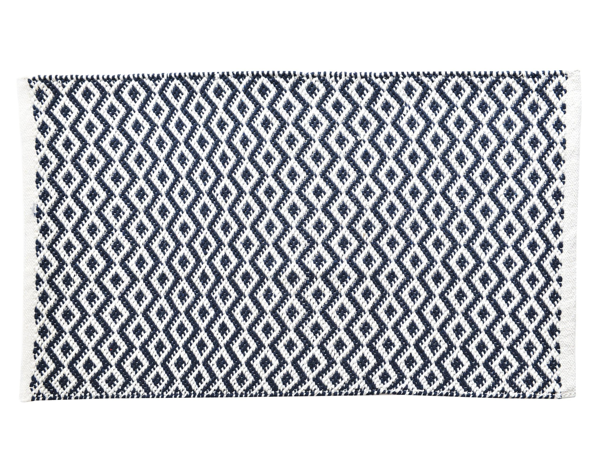 Tapis de bain bleu 70x120 en coton