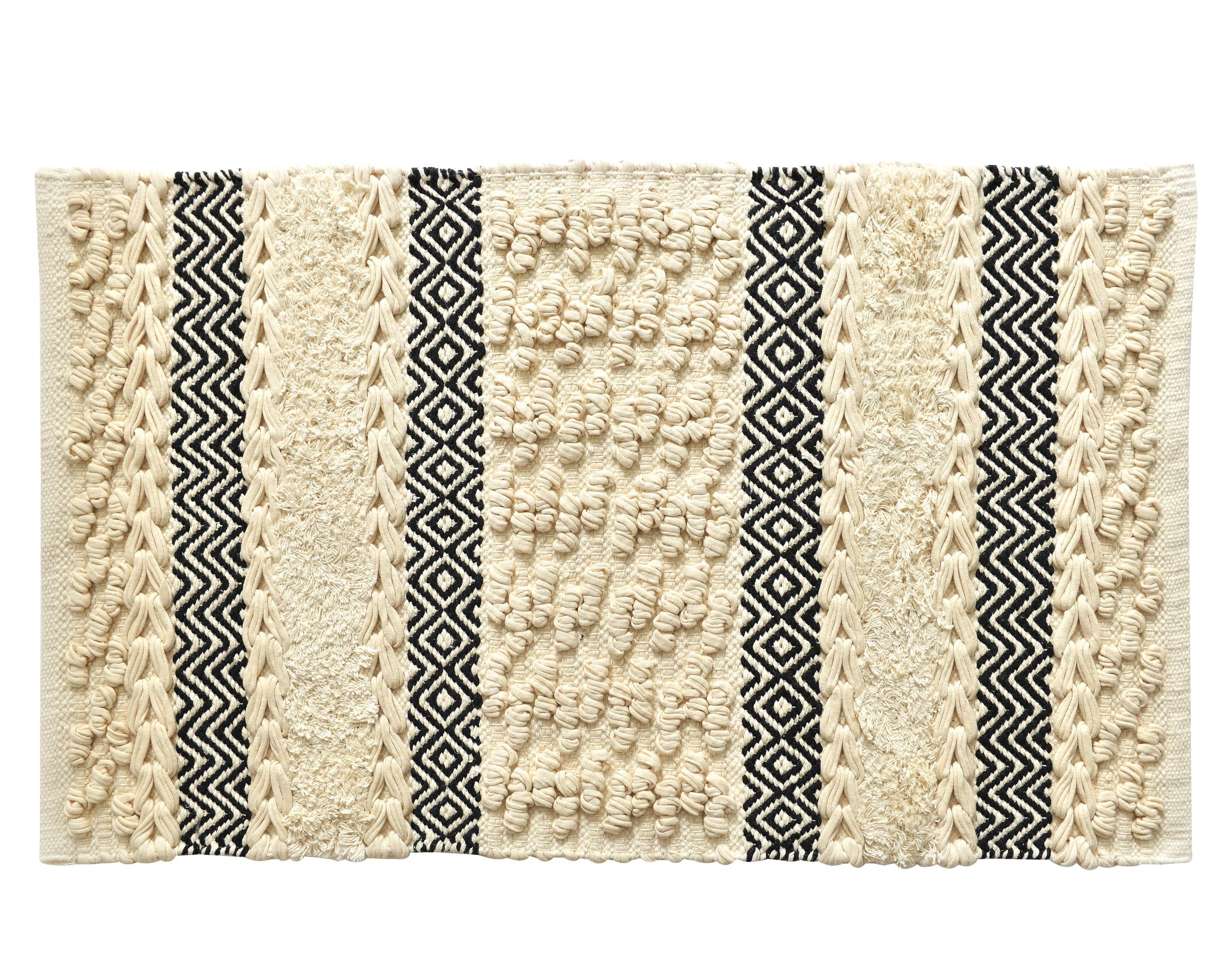 Tapis de bain beige tissé 50x80 en coton