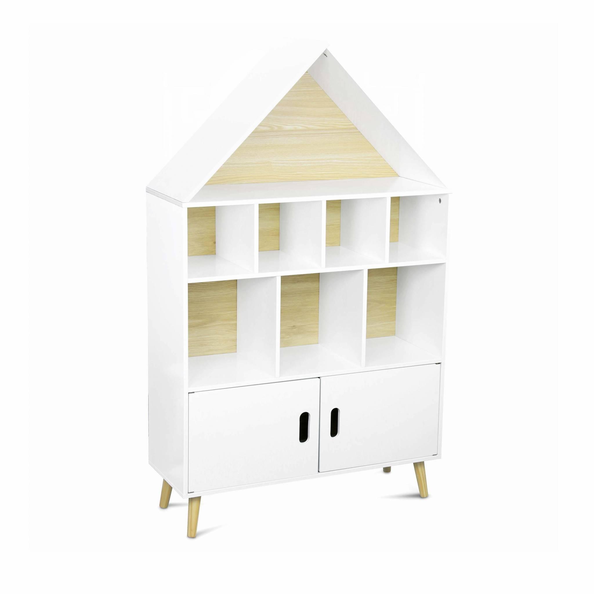 Etagère bibliothèque maison pour enfant en pin naturel blanc