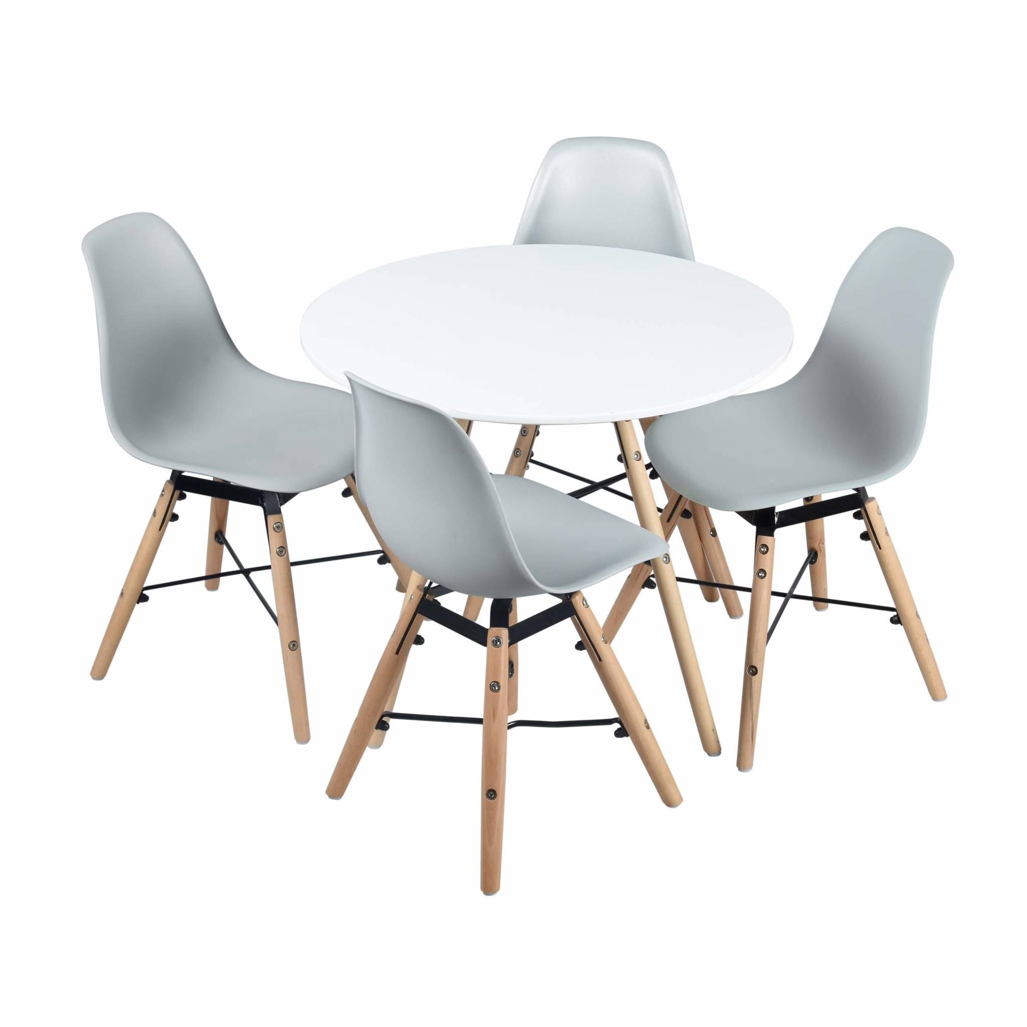 Table ronde et lot de 4 chaises grises pour enfant