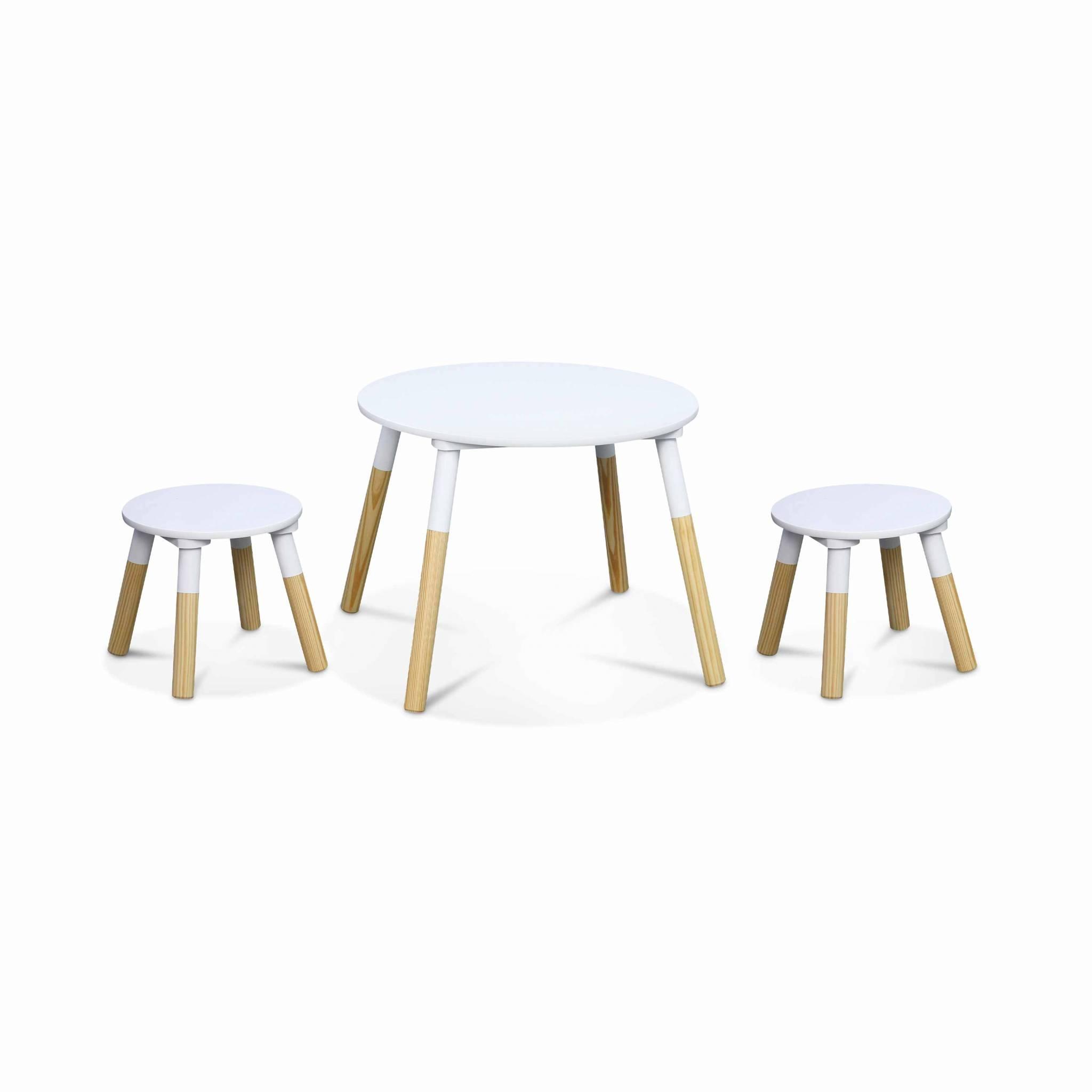 Table ronde et deux tabourets pour enfants naturel blanc
