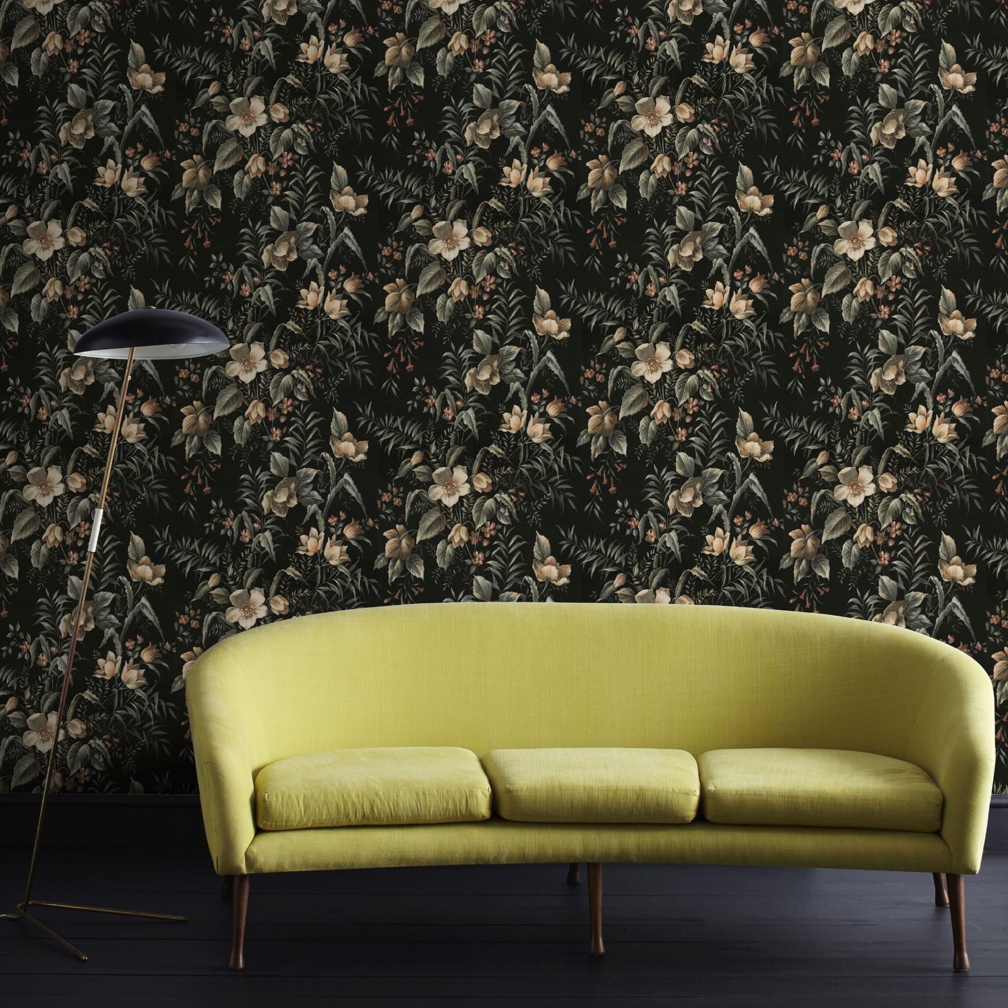 Papier peint intissé floral contemporain vert 1005x52cm