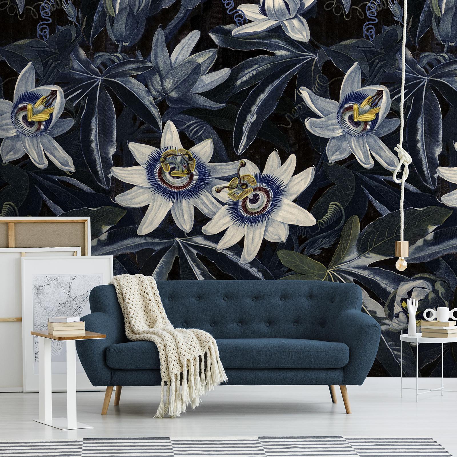 Papier peint panoramique fleurs de la passion bleu 280x200cm