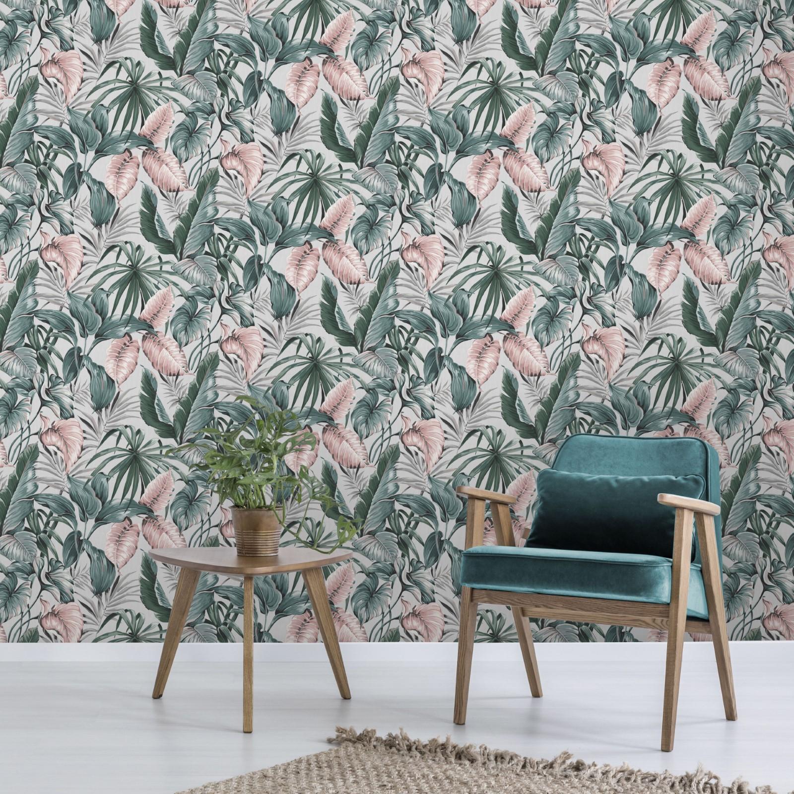 Papier peint intissé feuilles exotiques gris et rose 1005x52cm