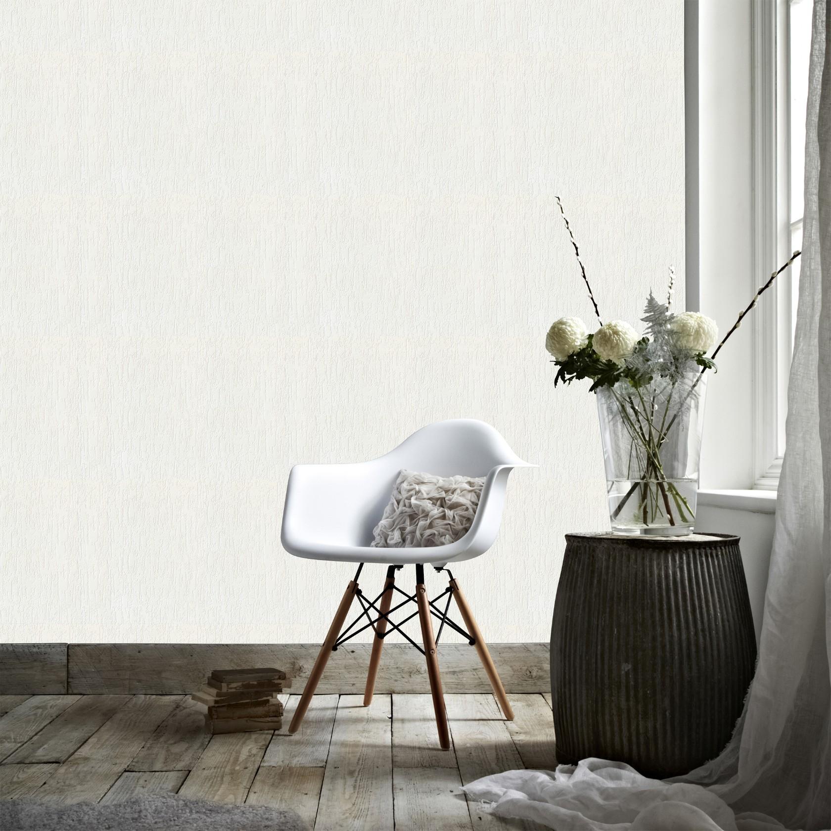 Papier peint intissé à peindre crépi écrasé blanc 1005x52cm