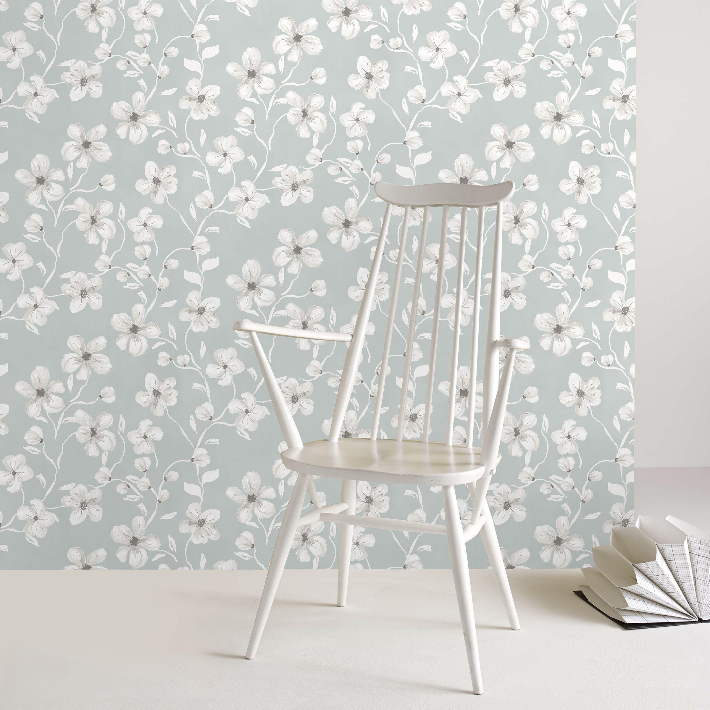 Papier peint intissé fleurs Sophie gris 1005x52cm