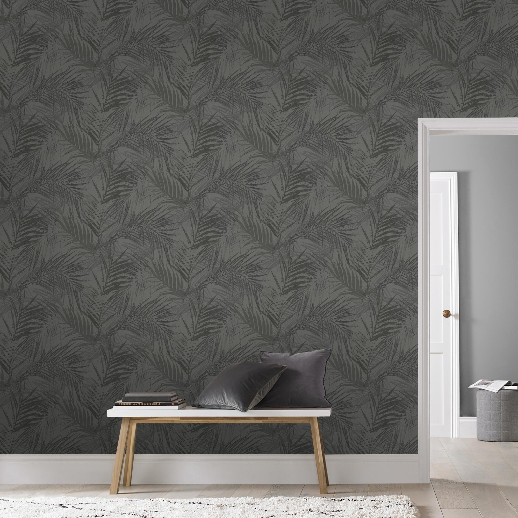 Papier peint intissé feuilles d'été gris 1005x52cm