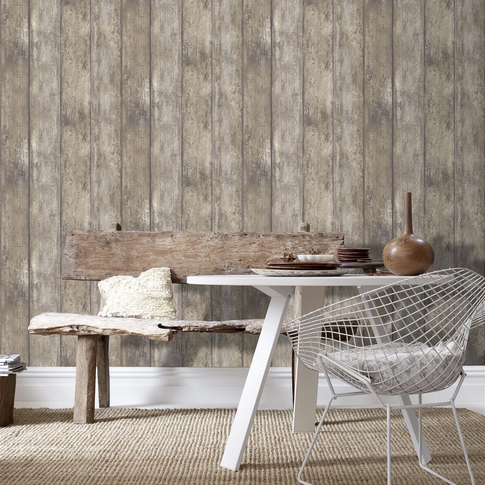 Papier peint bois grainé marron 1005x52cm
