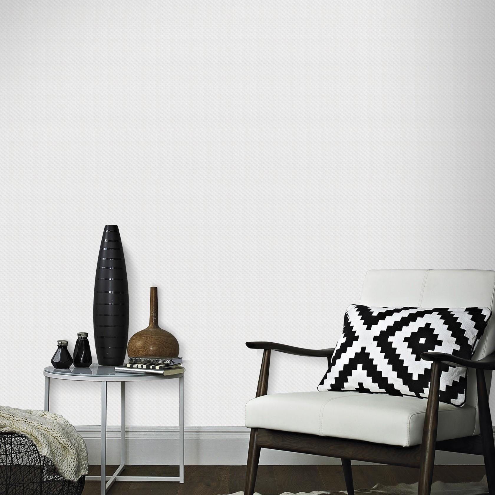 Papier peint intissé à peindre structure tissage blanc 1005x52cm