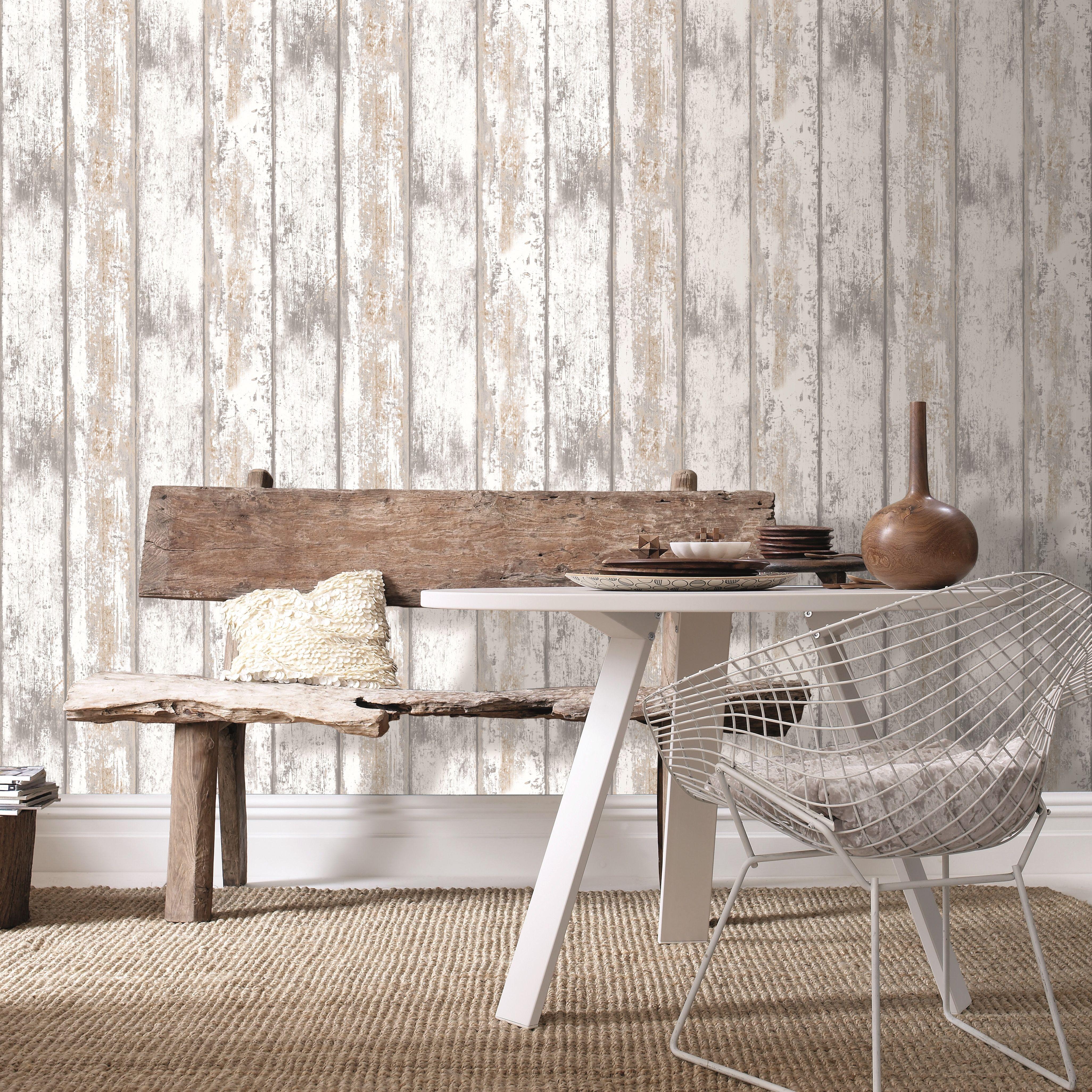 Papier peint bois grainé blanc 1005x52cm