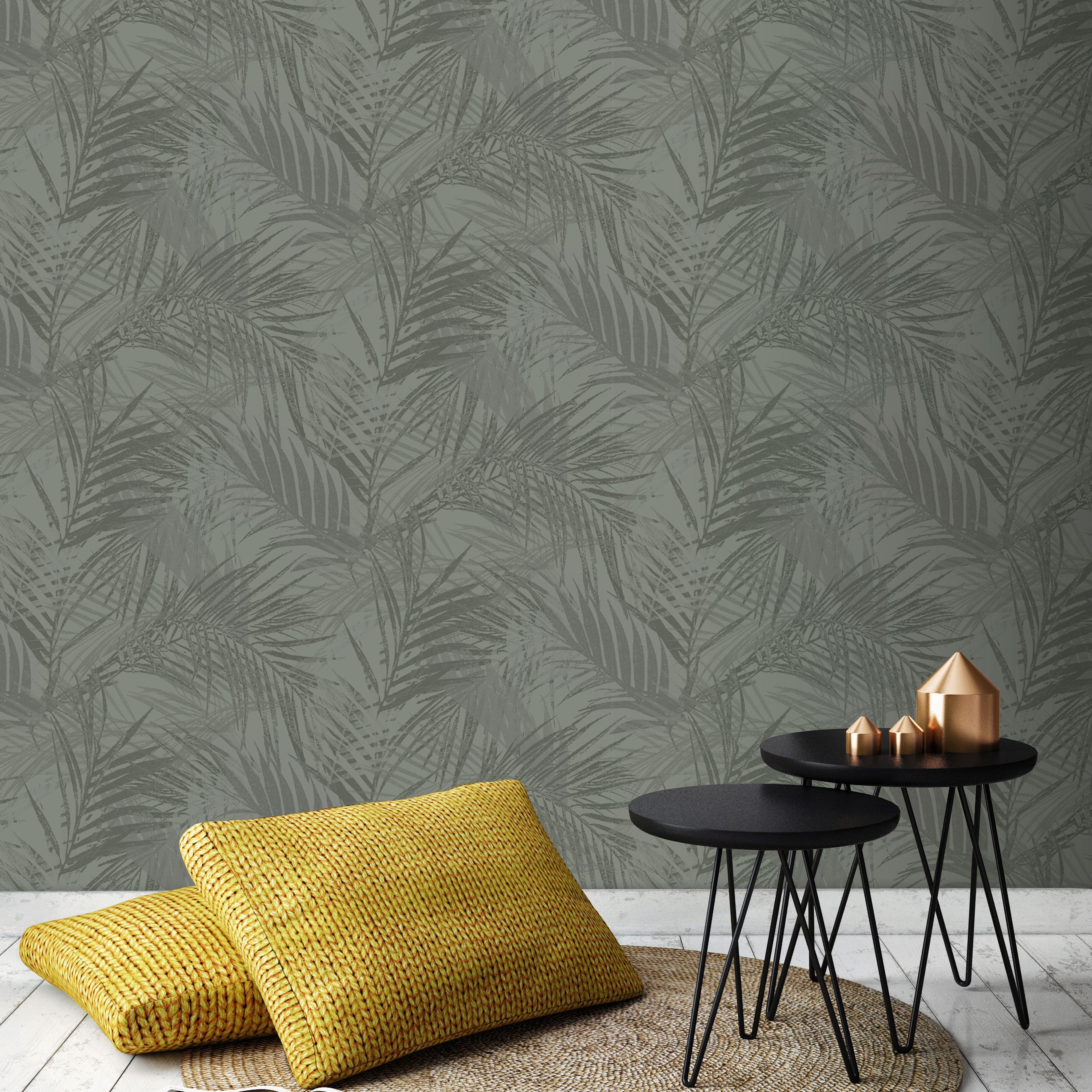 Papier peint intissé feuilles d'été vert 1005x52cm