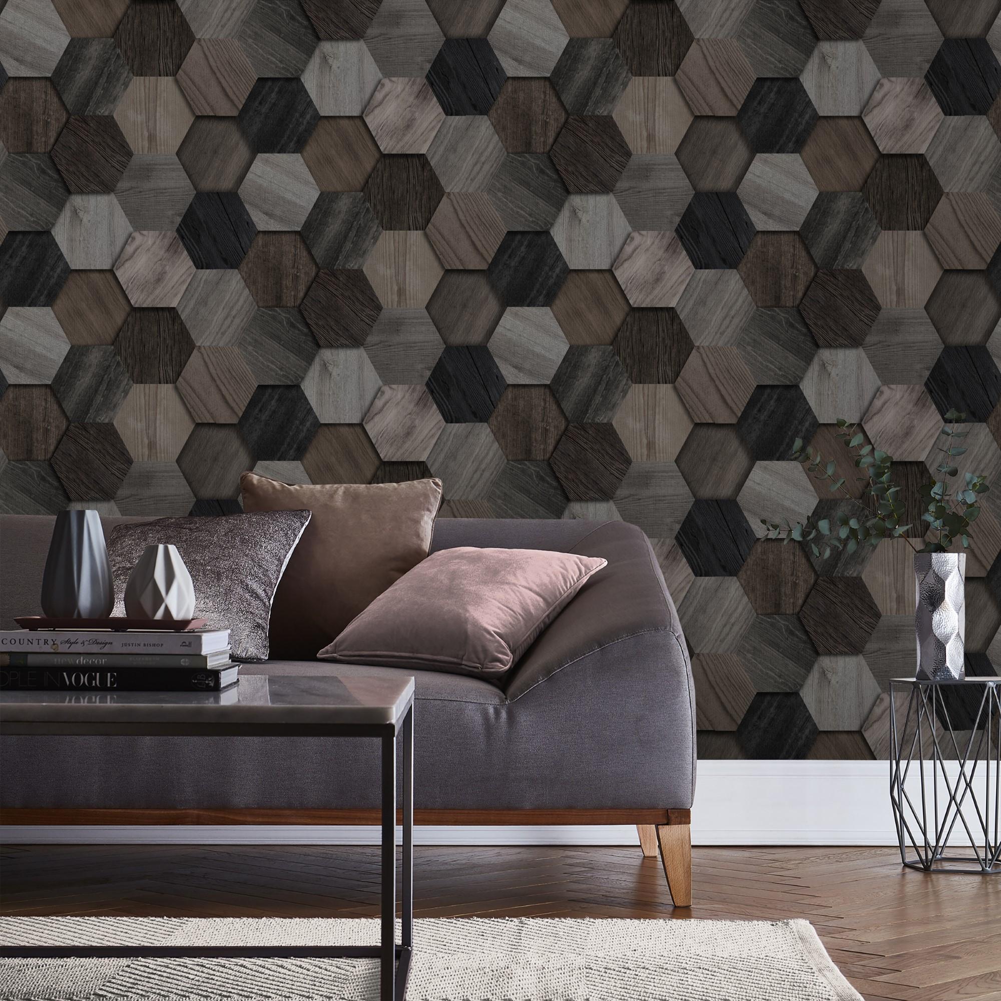Papier peint intissé hexagone en bois gris 1005x52cm