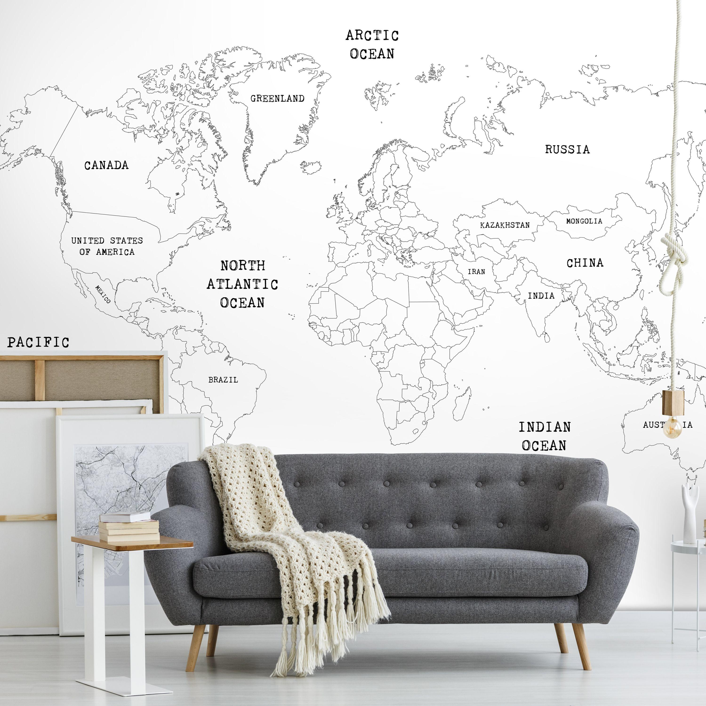 Papier peint panoramique carte du monde blanc 280x400cm