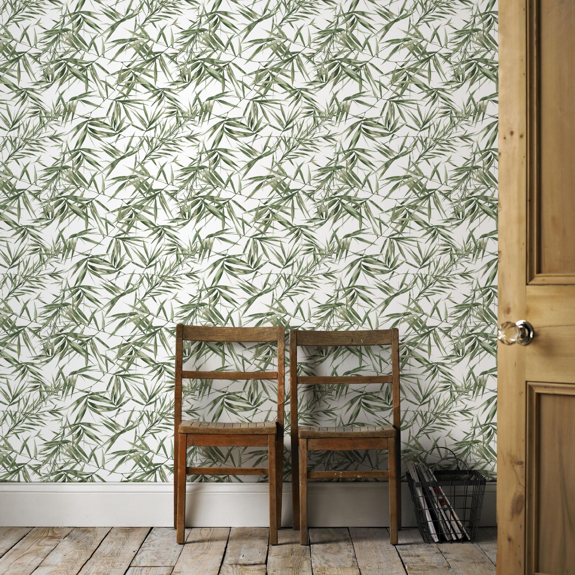 Papier peint intissé feuilles de bambou vert blanc 1005x52cm