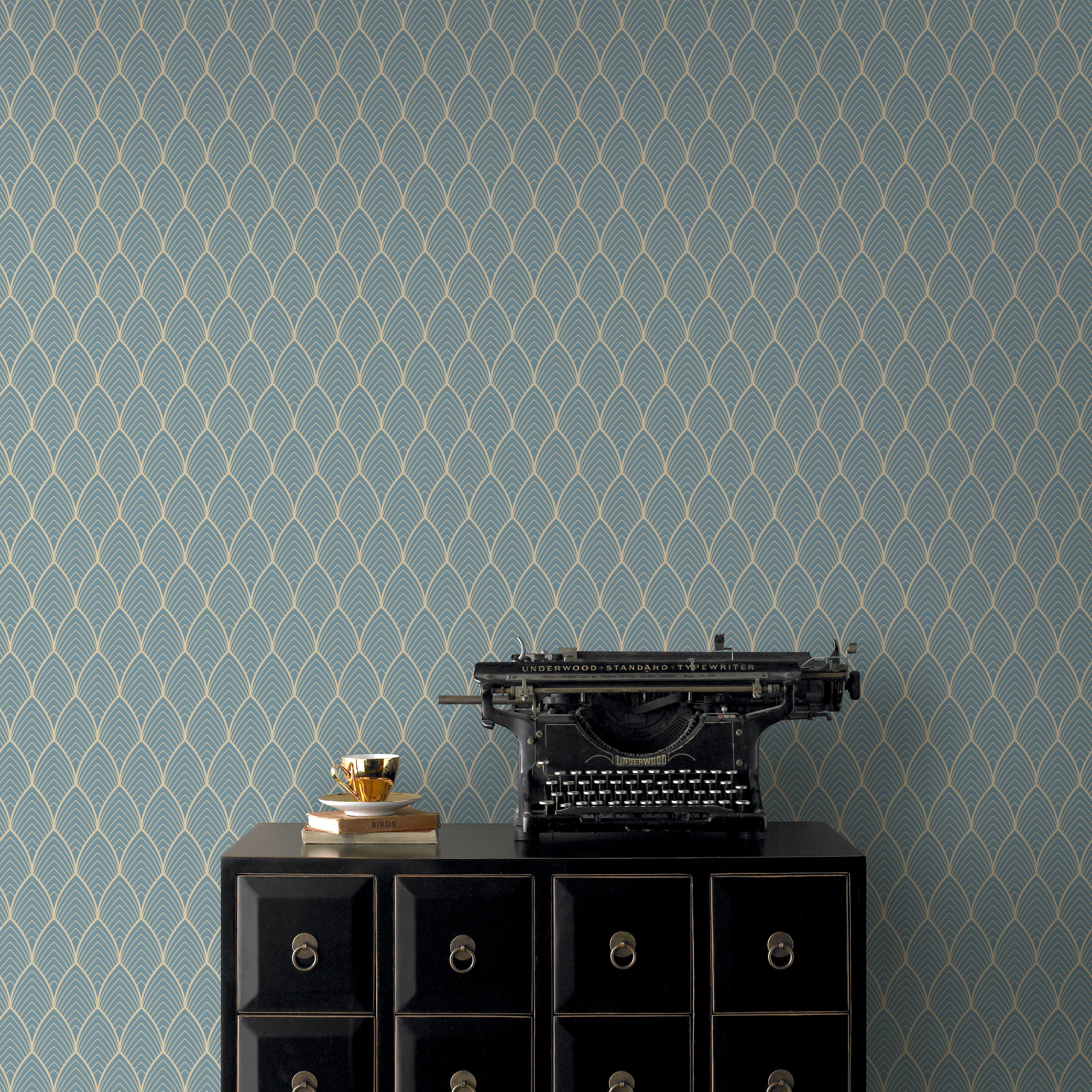 Papier peint intissé Bercy grainé bleu 1005x52cm