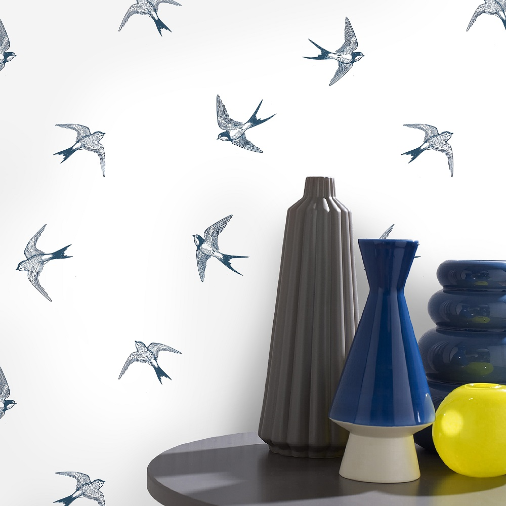 Papier peint intissé hirondelles bleu 1005x52cm