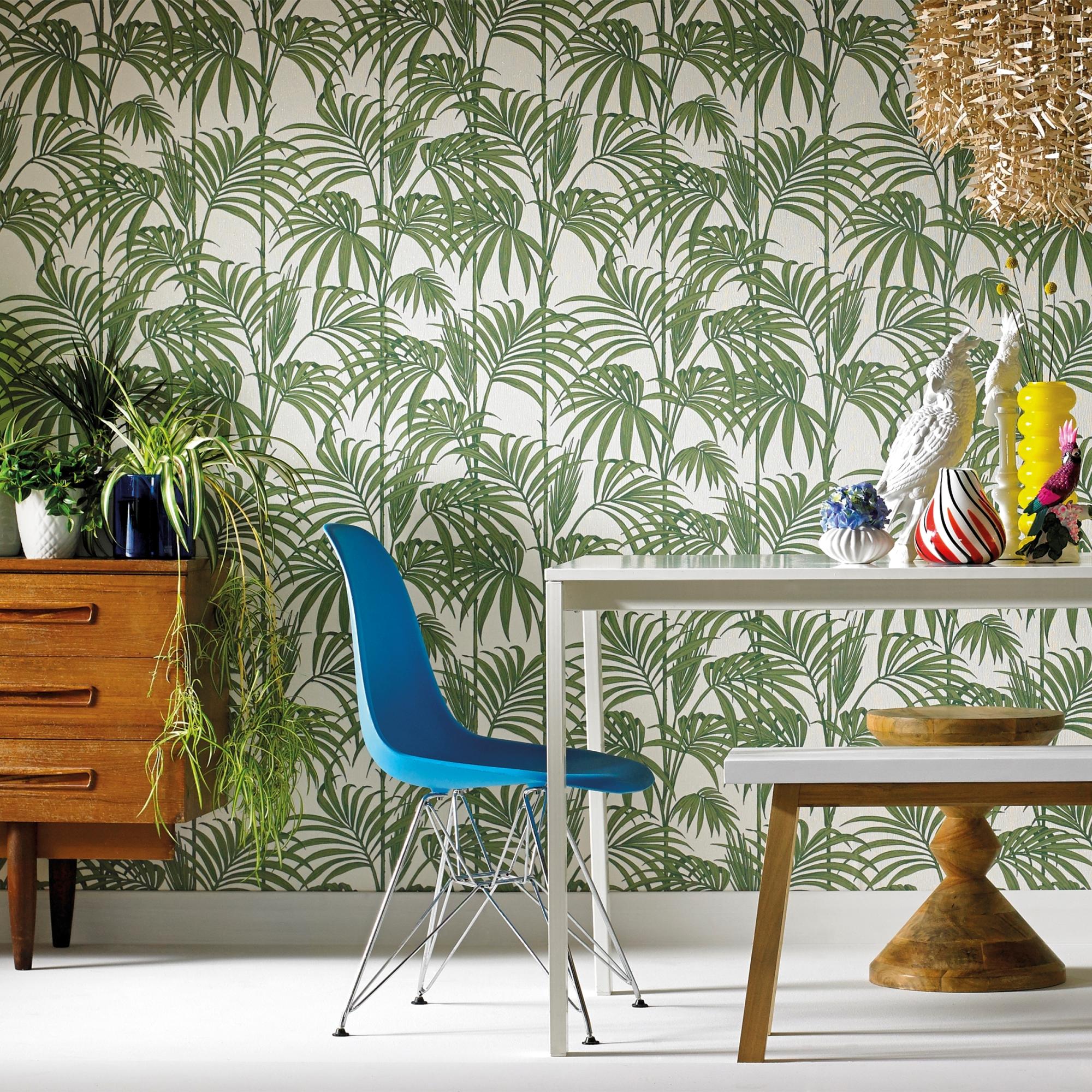 Papier peint intissé Honolulu vinyle vert blanc 1005x52cm