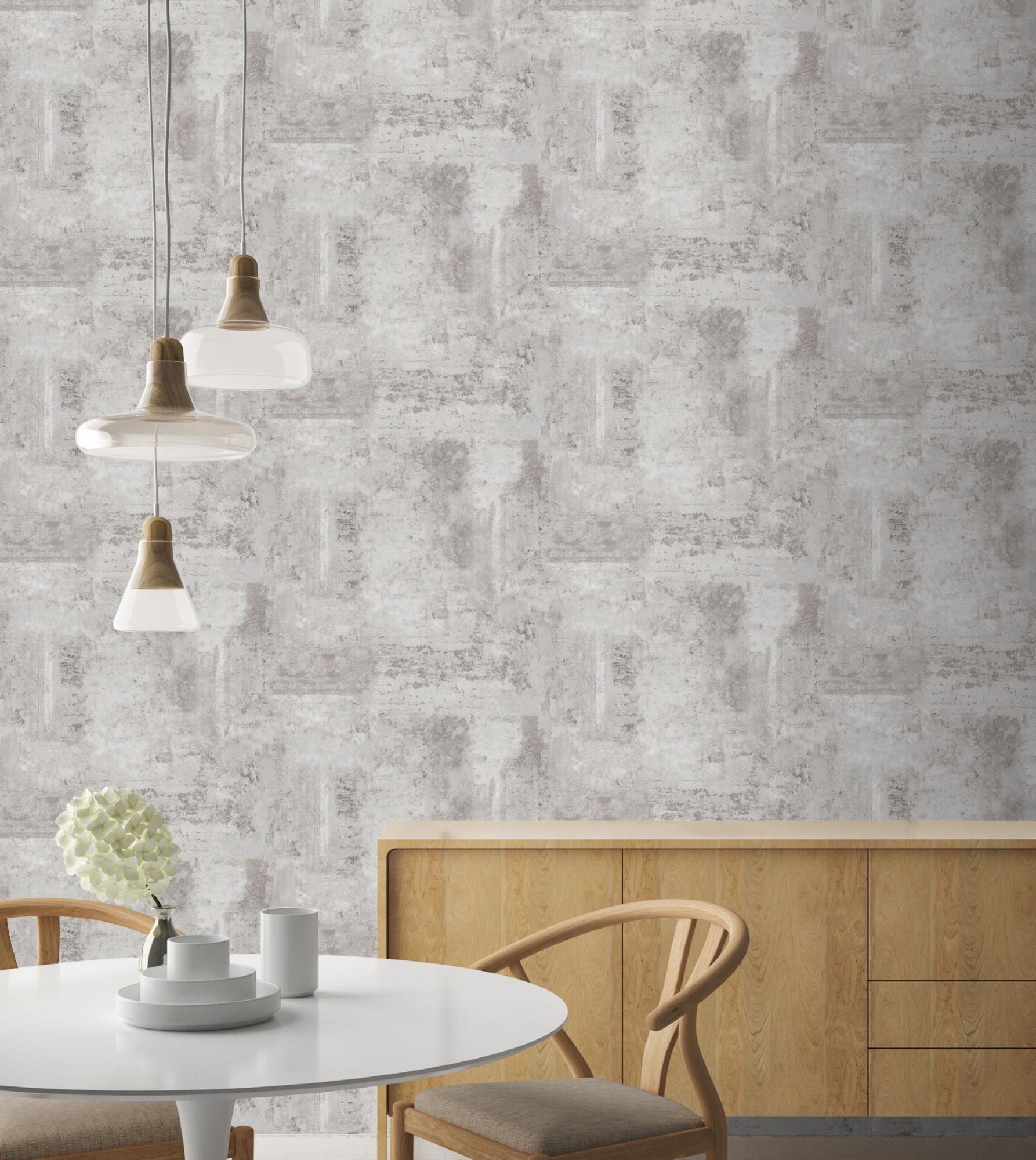 Papier peint intissé béton luxe gris 1005x52cm
