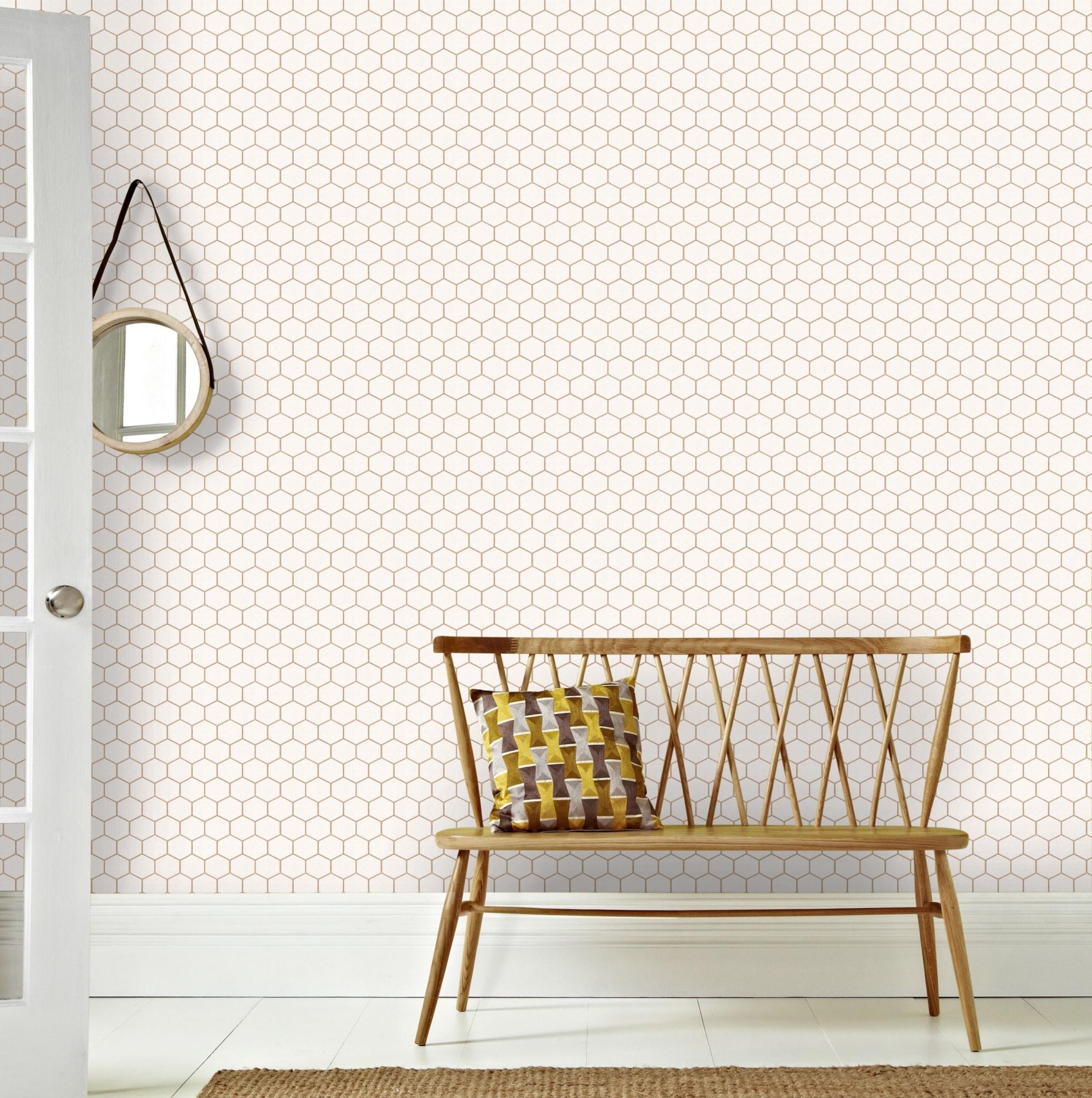 Papier peint intissé hexagone geo blanc cuivre or 1005x52cm
