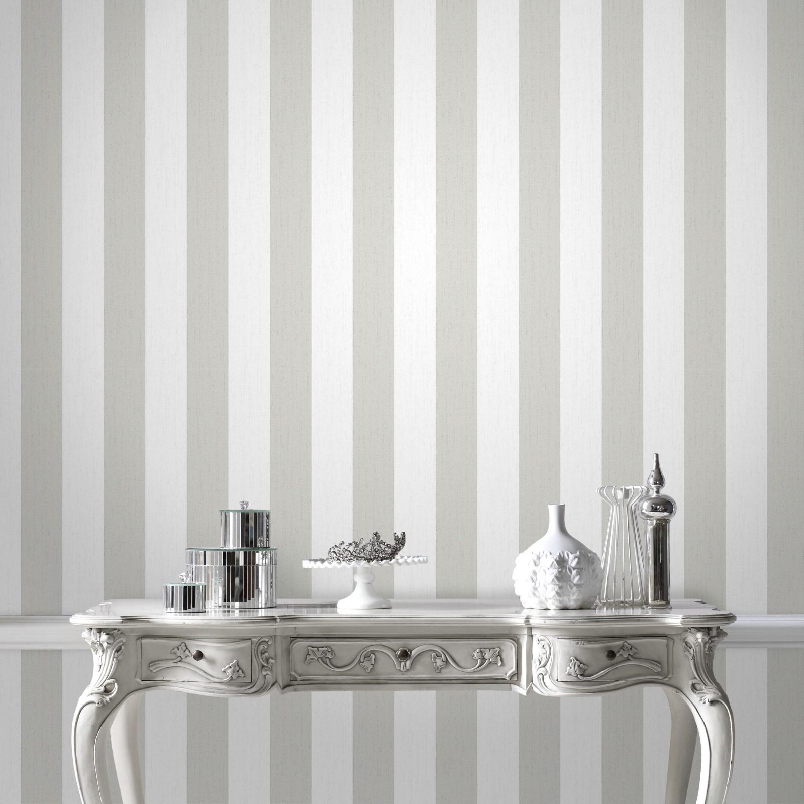 Papier peint intissé Glitterati rayures blanc argent 1005x52cm