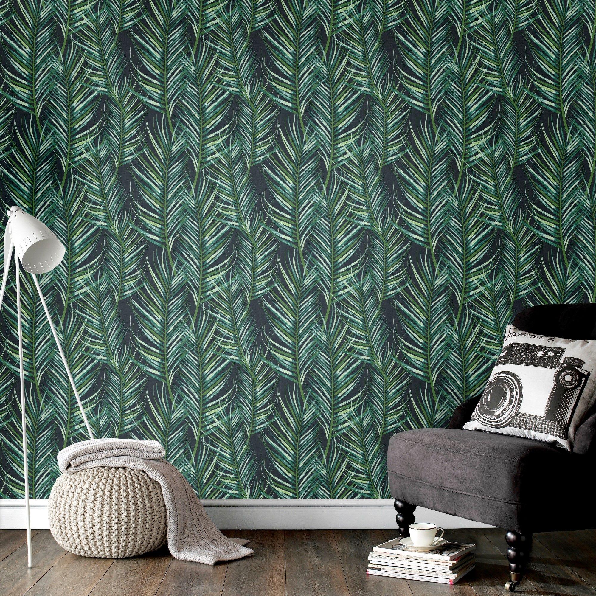 Papier peint intissé entrelac de feuilles de palmier vert 1005x52cm