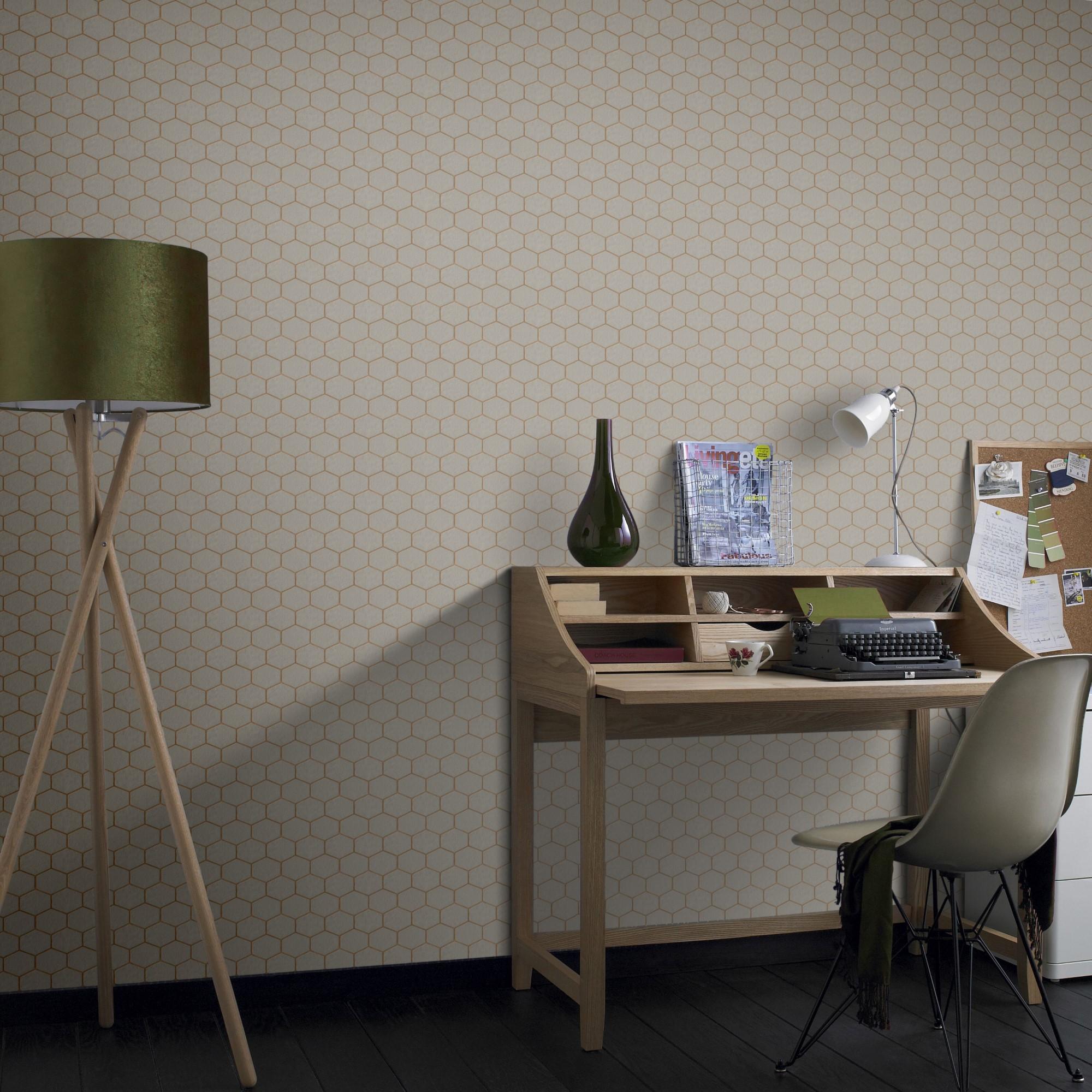 Papier peint intissé hexagone geo grainé taupe 1005x52cm