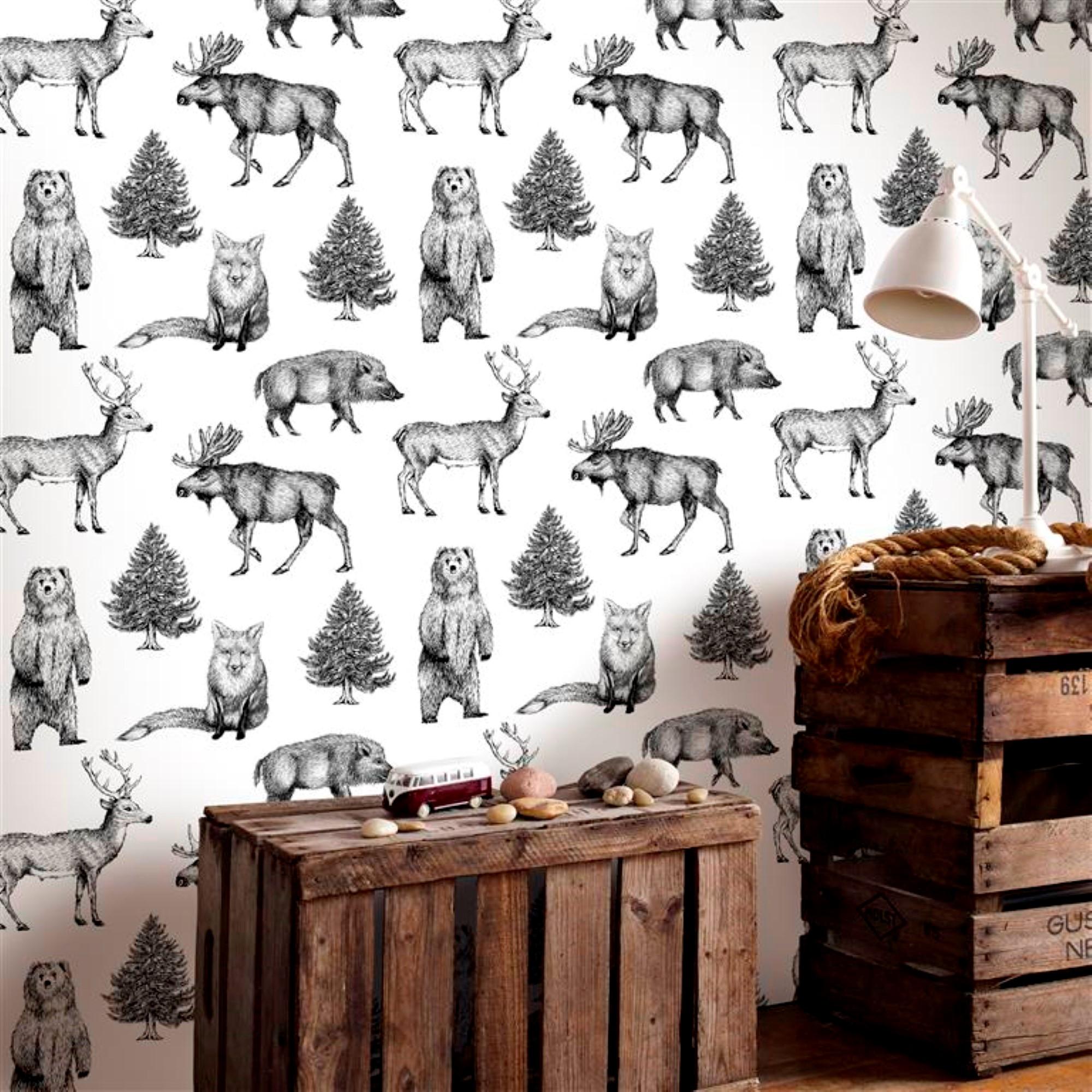Papier peint intissé animaux vinyle blanc noir 1005x52cm